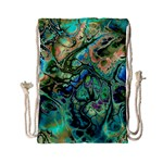 Fractal Batik Art Teal Turquoise Salmon Drawstring Bag (Small) Back