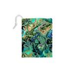 Fractal Batik Art Teal Turquoise Salmon Drawstring Pouches (XS)  Back