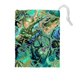 Fractal Batik Art Teal Turquoise Salmon Drawstring Pouches (Extra Large) Front