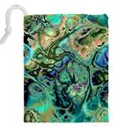 Fractal Batik Art Teal Turquoise Salmon Drawstring Pouches (XXL) Back