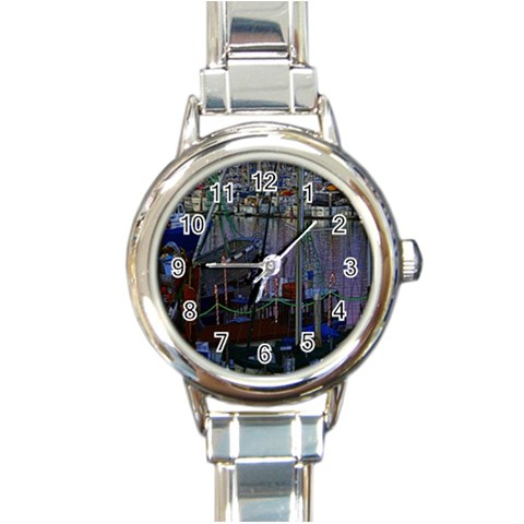 Christmas Boats In Harbor Round Italian Charm Watch