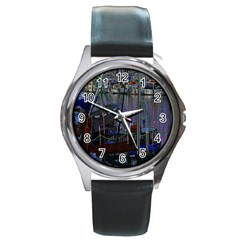 Christmas Boats In Harbor Round Metal Watch