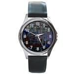 Christmas Boats In Harbor Round Metal Watch Front