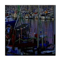 Christmas Boats In Harbor Tile Coasters