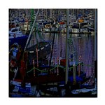 Christmas Boats In Harbor Tile Coasters Front