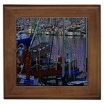 Christmas Boats In Harbor Framed Tiles Front