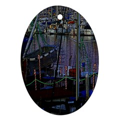 Christmas Boats In Harbor Ornament (Oval)