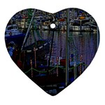 Christmas Boats In Harbor Ornament (Heart)  Front