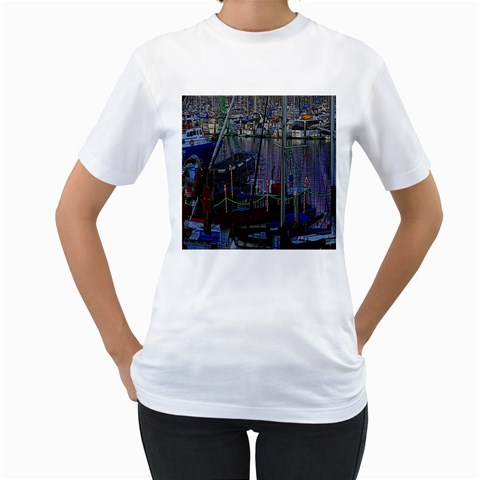 Christmas Boats In Harbor Women s T-Shirt (White) (Two Sided)