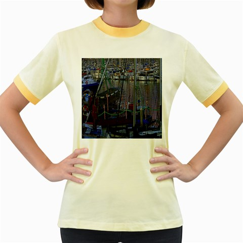 Christmas Boats In Harbor Women s Fitted Ringer T-Shirts