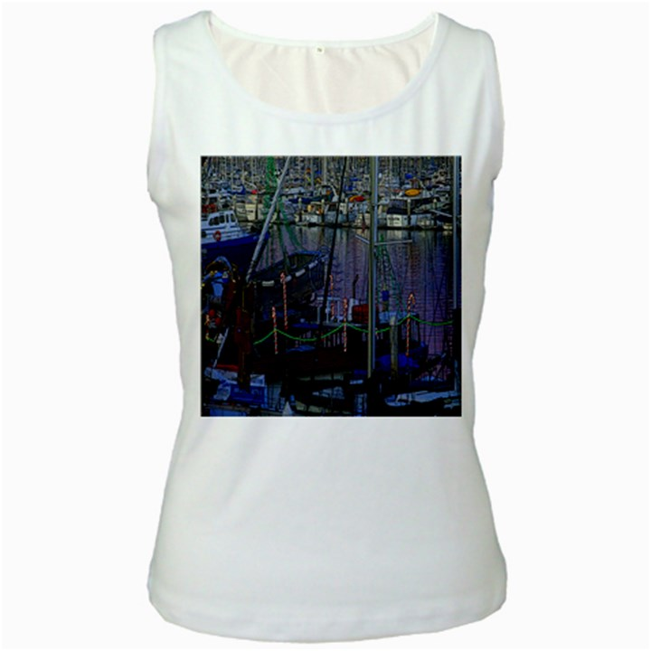 Christmas Boats In Harbor Women s White Tank Top
