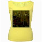 Christmas Boats In Harbor Women s Yellow Tank Top Front