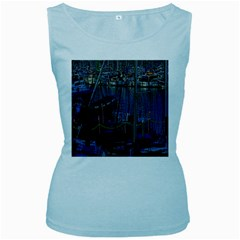 Christmas Boats In Harbor Women s Baby Blue Tank Top