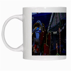 Christmas Boats In Harbor White Mugs