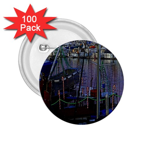 Christmas Boats In Harbor 2.25  Buttons (100 pack)