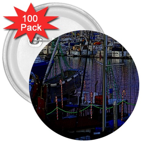 Christmas Boats In Harbor 3  Buttons (100 pack)