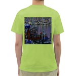 Christmas Boats In Harbor Green T-Shirt Back