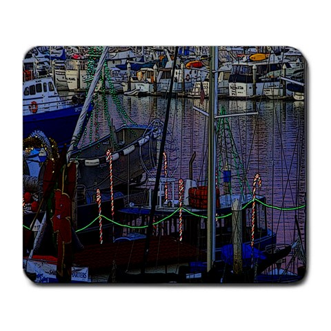Christmas Boats In Harbor Large Mousepads