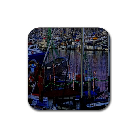 Christmas Boats In Harbor Rubber Square Coaster (4 pack)