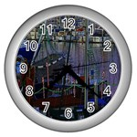 Christmas Boats In Harbor Wall Clocks (Silver)  Front