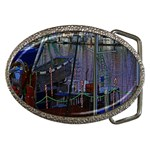 Christmas Boats In Harbor Belt Buckles Front