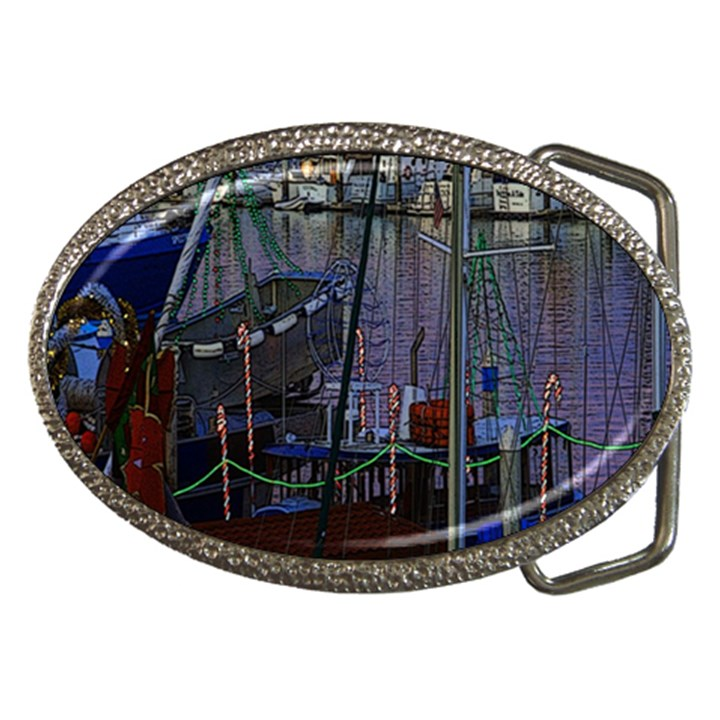 Christmas Boats In Harbor Belt Buckles