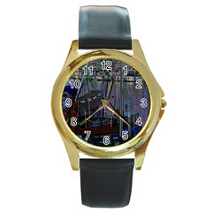 Christmas Boats In Harbor Round Gold Metal Watch