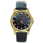 Christmas Boats In Harbor Round Gold Metal Watch Front