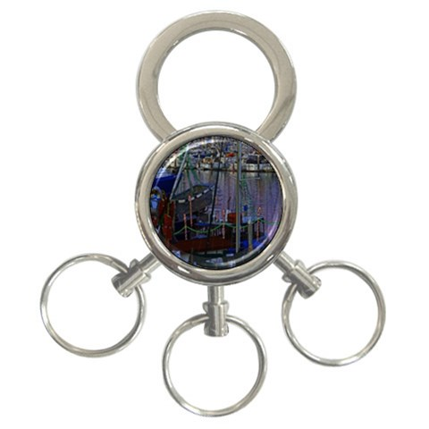 Christmas Boats In Harbor 3-Ring Key Chains