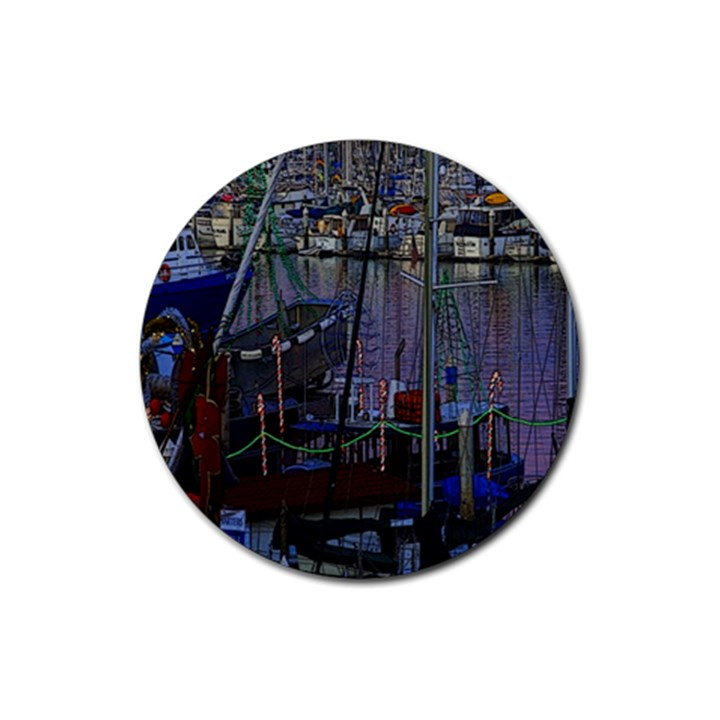 Christmas Boats In Harbor Rubber Coaster (Round)