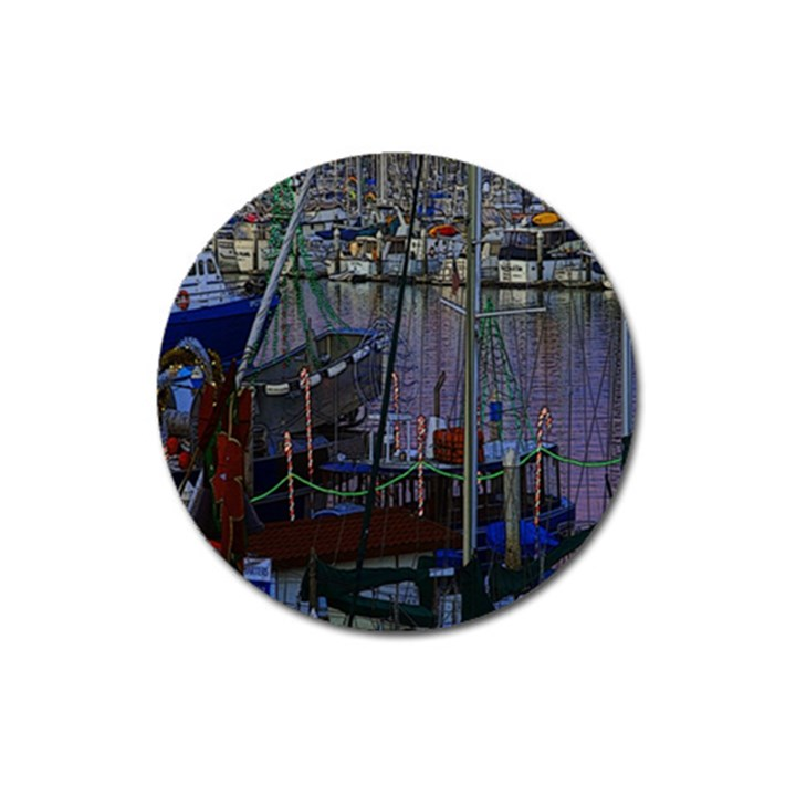 Christmas Boats In Harbor Magnet 3  (Round)