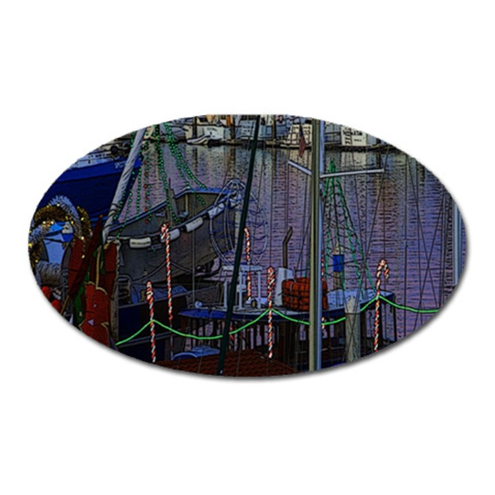 Christmas Boats In Harbor Oval Magnet