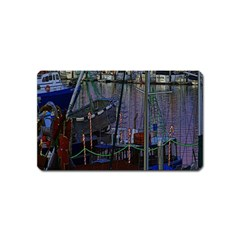 Christmas Boats In Harbor Magnet (Name Card)