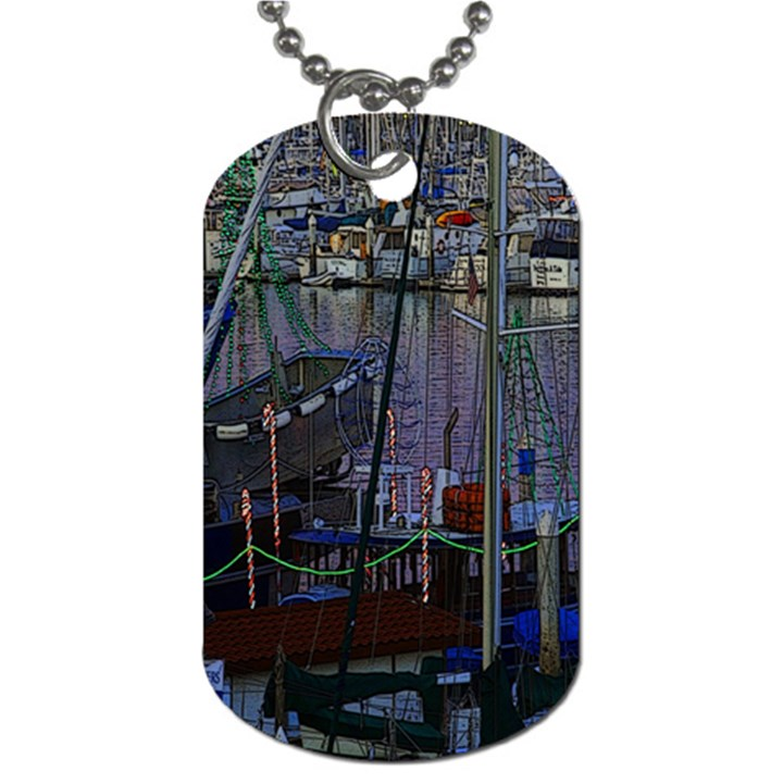 Christmas Boats In Harbor Dog Tag (One Side)