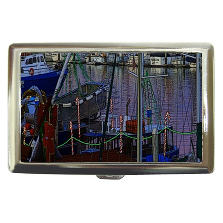 Christmas Boats In Harbor Cigarette Money Cases