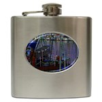 Christmas Boats In Harbor Hip Flask (6 oz) Front