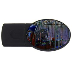 Christmas Boats In Harbor USB Flash Drive Oval (1 GB)