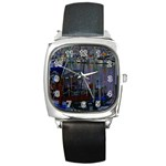 Christmas Boats In Harbor Square Metal Watch Front