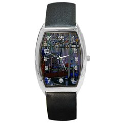 Christmas Boats In Harbor Barrel Style Metal Watch