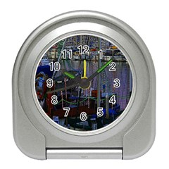 Christmas Boats In Harbor Travel Alarm Clocks