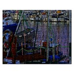 Christmas Boats In Harbor Rectangular Jigsaw Puzzl Front