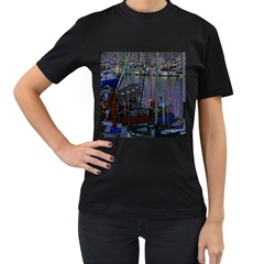 Christmas Boats In Harbor Women s T-Shirt (Black) (Two Sided)