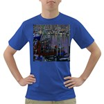 Christmas Boats In Harbor Dark T-Shirt Front