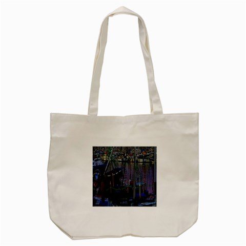 Christmas Boats In Harbor Tote Bag (Cream)