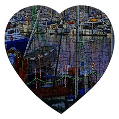Christmas Boats In Harbor Jigsaw Puzzle (Heart)