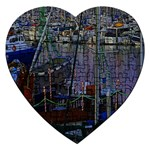 Christmas Boats In Harbor Jigsaw Puzzle (Heart) Front