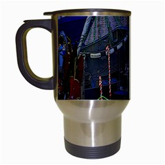 Christmas Boats In Harbor Travel Mugs (White)