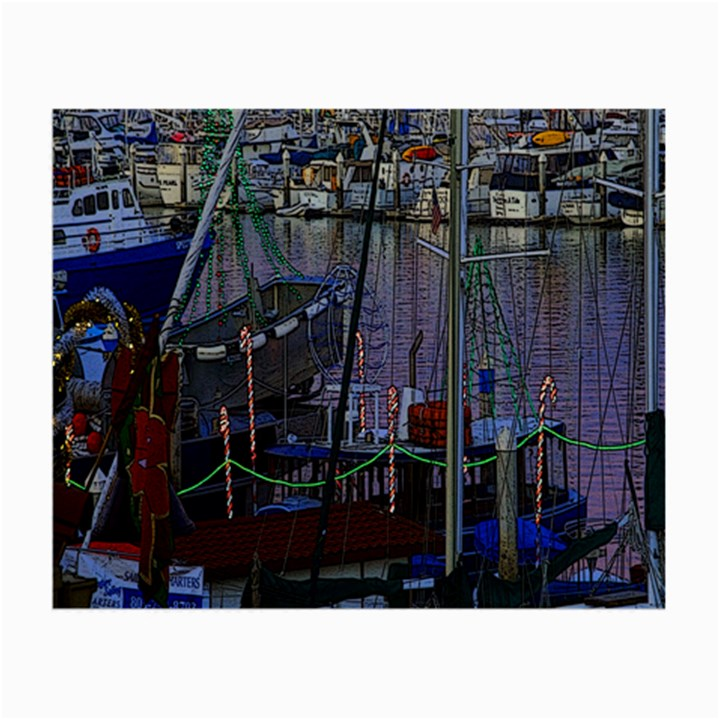 Christmas Boats In Harbor Small Glasses Cloth