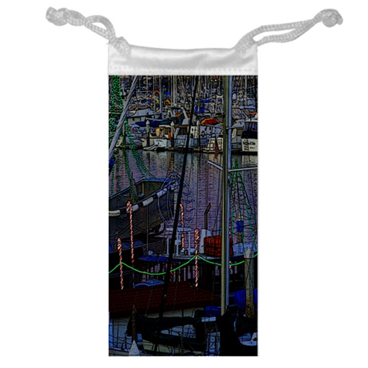 Christmas Boats In Harbor Jewelry Bags