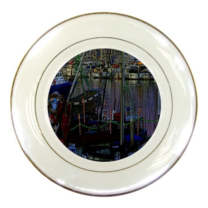 Christmas Boats In Harbor Porcelain Plates